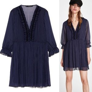 ZARA Pleated Elastic Waist Polka Dot Mini Dress S